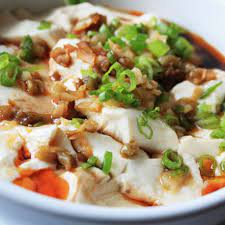 silken tofu with soy sauce and chili