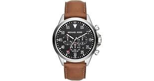 michael kors men s chronograph gage luggage leather strap watch 45mm mk8333 in metallic for men lyst
