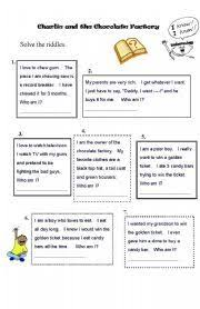 charlie and the chocolate factory by roald dahl teaching english worksheet charlie and the chocolate factory worksheet riddles guess the characters