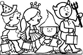 Kids Costumes Halloween Coloring Pages Free Printable Coloring