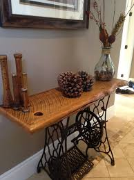 Hallway table made with Antique Singer Sewing table base and ...