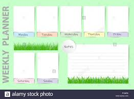 Seasonal Weekly Planner On The Light Green Background With
