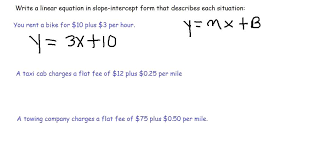 how to write a linear equation in slope intercept form from a word problem or sentence
