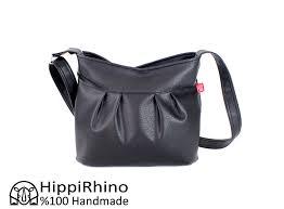 black vegan pleated leather purse bag