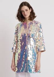 duster coat with maxi sequin embroidery