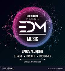 Party Template Edm Club Music Party Template Dance Party Flyer Vector Image