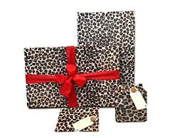 gift wrap pack stretchy fabric reusable and eco friendly leopard print