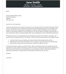 Cover Letters For Education Cover Letter Early Childhood Teacher
