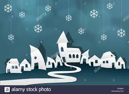 Winter Dorf Papier Origami Schneiden Sie Schere Stern