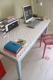office desk cover. Definitely Trying This With My $5 Desk Project! Perfect Way To Cover The Old Laminate Office