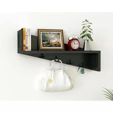wooden wall shelf bracket with key hooks