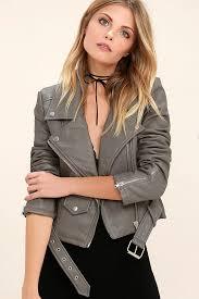 weave tough girl vegan leather moto jacket womens grey tops size xs fg62871