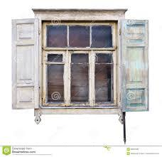 Das Merkwürdige Zerstörte Weiße Fenster Mit Offenen Vorhängen Im