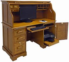 59 w oak roll top computer desk in stock decor 3