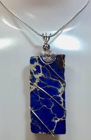 magnesite pendant blue pendant natural gemstone pendant sterling silver wire wrap