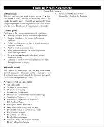 Organizational Assessment Template Unique Development Needs Analysis Template Organizational Training