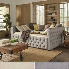do they make queen size daybeds.  Daybeds Knightsbridge Queensize Tufted Nailhead Chesterfield Daybed And Trundle By  INSPIRE Q Artisan Throughout Do They Make Queen Size Daybeds E