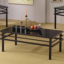 black metal base glass top modern 3pc coffee table set regarding set of 3 glass coffee tables