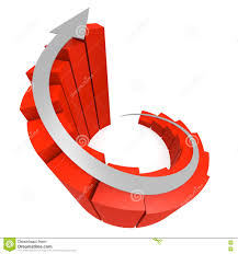 Red Winding Bar Chart With White Arrow Stock Illustration