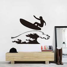 latest new creative wall art surfing boy wall decals bedroom vinyl pvc stickers home decoration on creative images wall art with latest new creative wall art surfing boy wall decals bedroom vinyl