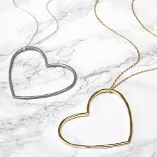 silver and gold statement heart necklace