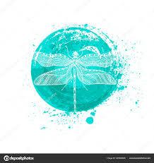 минималистский элегантный дизайн логотипа стрекоза с линии