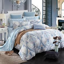 light blue and gray paisley pop print victorian gothic pattern bohemian style unique 100 brushed cotton full queen size bedding sets