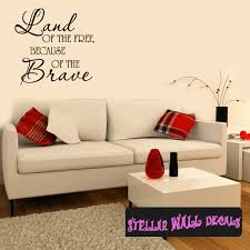 land of the free because of the brave patriotic 4th of july holiday wall decals wall quotes wall murals hd004 swd on patriotic vinyl wall art with land of the free because of the brave patriotic 4th of july holiday