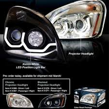 head light factory replacements freightliner cascadia projection headlight big rig chrome semi truck chrome truck lighting and chrome