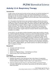 Respiratory Therapist Resumes Sample Therapy Resume Cover Letter Job
