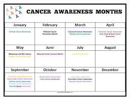 Printable Cancer Ribbon Chart Cancer Awareness Months Calendar Free Printable