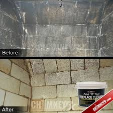 the inside of a firebox before and after being cleaned with paint n