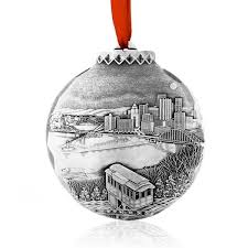 The Pittsburgh Christmas Ornament My Home Town by artist Linda Barnicott is  made in Pennsylvania by the artisans of Wendell August.