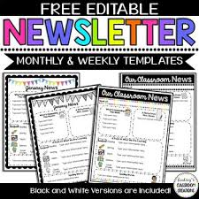 Free Teacher Newsletter Templates Editable Classroom Newsletter Templates Color Black And White