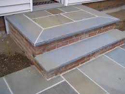 Cinder Block Stairs Steps Combination Between Pa Bluestone Treads Stamped Concrete