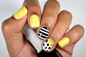 Black And White Polka Dots Nail Art With Yellow Accent Flower With ...