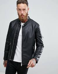 asos faux leather racing biker jacket clothing jackets coats for men black lqy8ww90