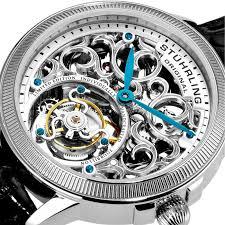 stuhrling 243 331x2 limited edition mirage tourbillon ss case stuhrling original 243 331x2 men s tourbillon mirage tourbillon limited edition mechanical skeleton silver tone watch