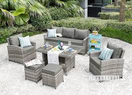picture of valencia 6 pc patio sofa and dining set aluminum frame