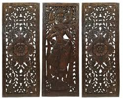 Small Picture Multi Panels Oriental Home Decor Wood Carved Floral Wall Art