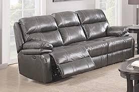 power reclining sofa dark grey italian leather