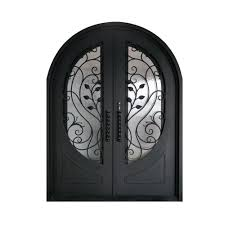 matte black right hand inswing with 3 4 oval clear double glazed glass iron prehung front door