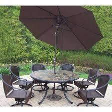 9 piece metal outdoor dining set with brown umbrella