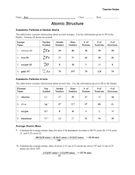 Subatomic Particles Chart Answers Worksheet Atomic Structure Teacher