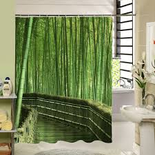 shower curtain shower environmentally friendly. Forest Shower Curtain Green Bamboo Zen Pattern Polyester Fabric Eco-Friendly Waterproof Mildewproof For Home Environmentally Friendly R