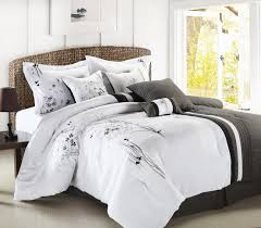 white and gray comforter  beds decoration