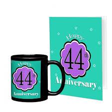 44th wedding anniversary gift printed coffee mug with greeting card