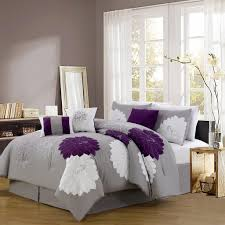 image of grey and purple bed sets