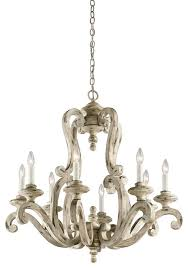 chandelier 8 light with distressed antique white wood candelabra 32