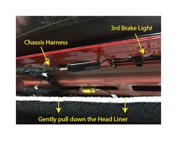 how to install a raxiom 3rd brake light flasher on your 1994 2015 1998 ford f150 third brake light wiring harness gently pull down on the rear head liner and unclip the 3rd brake light harness step 2 locate 3rd brake light wiring harness 2015 black purple